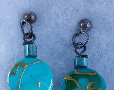 Blue gold splatter coin Bead Earring,drop earring,dangle earring,cluster earring,post earring by dawnsbeadsdesigns. Explore more products on http://dawnsbeadsdesigns.etsy.com
