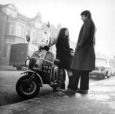 1967 - young couple with scooter - North London