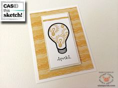 """Here's an """"enlightening"""" card (hee!) created by Stamp Crab for the current CAS(E) this Sketch Challenge 108. Stampin' Up! supplies used include Whisper White Cardstock (100730), Moonlight Designer Series Paper Stack (133701), You Brighten My Day Stamp Set (Clear 139106, Wood 139103), Good Greetings Hostess Stamp Set (retired), Hello Honey Classic Stampin' Pad (133643), Jet Black Stazon Ink Pad (101406), and Stampin' Dimensionals (104430)."""