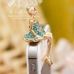 2014 Cute cell phone headset dust plug beauty crystal dust plug phone decoration #UnbrandedGeneric