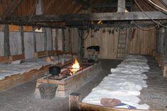 Inside the Longhouse of Vikings Viking Hall, Viking Tent, Viking House, Viking Life, Viking Village, Viking Reenactment, Long House, Medieval, Ancient Vikings
