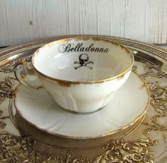 Poison Tea Cup Belladonna Altered vintage china Black Eyed Susan Yellow C&S Have A Nice Afternoon, Afternoon Tea, Vintage China, Vintage Tea, Teapots And Cups, Tea Service, Teller, Thanksgiving, High Tea