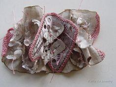 Kallia Xa - mixed media brooch - fabric, embroidery, etched metal