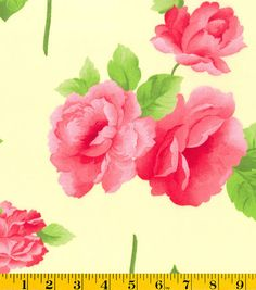 Gertie Collection Fabrics- Poplin Roses Yellow Cotton Fabric