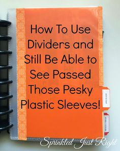 Sprinkled Just Right: Notebook Dividers: How To Use Them With Plastic Sleeves