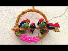 DIY Bird wall decor/best reuse idea/ lovebird making/Best out of waste Easy Yarn Crafts, Cute Kids Crafts, Diy And Crafts, Handmade Flowers, Diy Flowers, Fabric Flowers, Wall Hanging Crafts, Clay Art Projects, Diy Doll