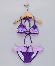 Take a look at this Little Miss Purple Ruffle Bikini - Toddler & Girls by Lemons & Limes Kids Swimwear on #zulily today!