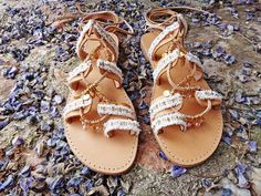 Amelia Lace Tie up Boho Stripes Charms Sandals / by Twininas