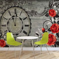 WALL MURAL PHOTO WALLPAPER XXL Roses Clock Wood Planks Vintage	 (1790WS)