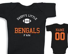 Daddy's Little Cincinnati Bengals Fan Custom Name and Number Football Baby Bodysuit Or Tee