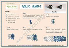 Por petición popular, he aquí el esquema del anillo bubble. No es una creación mía, sólo es una adaptación y espero que disfrutéis haciéndolo ya que es muy fácil y queda muy bien. Si tenéis dudas o véis algún error en el esquema, por favor enviarme un FM. Más modelos y fotos en mi blog www.maujearaya.blogspot.com