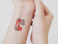 beautiful wrist red fox leaf watercolor tattoo for beautiful you