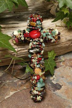 """Coral & Jade Gemstone Wall Cross 7"""" , 9"""" or 12"""""""