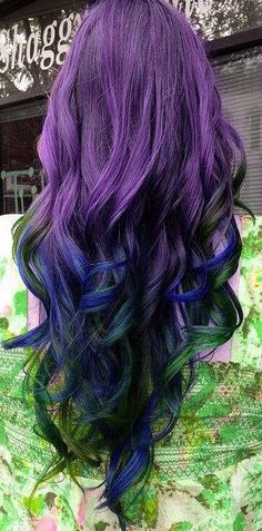 Awesome Purple Hair with Colored Highlights