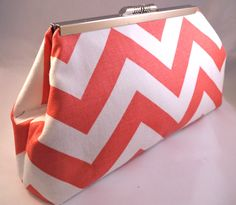 Classic Coral Chevron lined with your choice of lining. Product Specifications: Dimensions: 9 at widest point, 9 across bottom, 4 high and 2 deep lined with cotton fabric Hardware: Nickel/Silver finish snap close purse frame Coral Chevron, Mint Coral, Coral Color, Colour, Nickel Silver, Handmade Items, Handmade Gifts, Goodie Bags, Diaper Bag