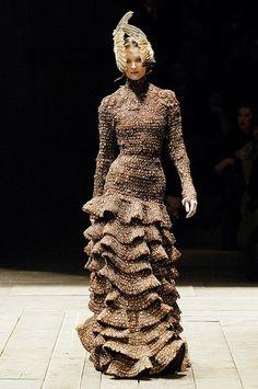 Tiered pheasant feather dress, Alexander McQueen, The Widows of Culloden, A/W 06
