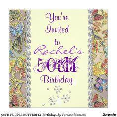 50TH PURPLE BUTTERFLY Birthday Invitation BLING