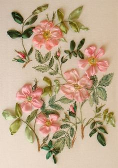 Wild dog rose ribbon embroidery, super pretty I want to embroider this well.