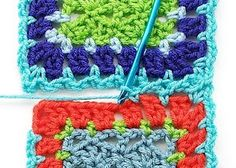 Tutorials and patterns for joining grannies: flat braid join (shown here), simulated braid join, and scallop join. There are also tips on block layouts and borders.