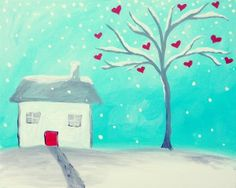 Paint this adorable winter cottage with an inviting red door and a tree blooming with hearts. You'll be filled with cheer as you watch the soft snowflakes dance in the bright blue sky. Middle School Art, Pinots Palette, Art Event, Pinots Palette Paintings, Canvas, Painting, Art, Artsy