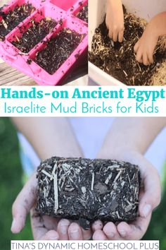 Hands-on Ancient Egypt: Israelite Mud Bricks for Kids.Israelites made mud bricks from the soil of the Nile River.Look at this easy hands-on history activity Ancient Egypt Activities, Ancient Egypt Crafts, Ancient Egypt For Kids, History Activities, Teaching History, Ancient Egypt Lessons, Egyptian Crafts, Archaeology For Kids, Brick Crafts