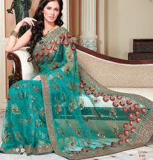 Jungle Green Net Wedding and Bridal Embroidered Saree
