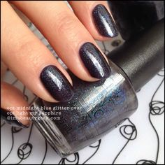 OPI Midnight Blue Glitter (1 coat) over OPI Light My Sapphire (2 coats)
