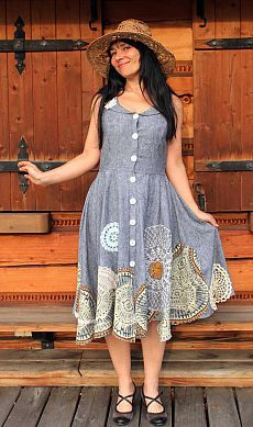 LInen and lace appliqued romantic dress