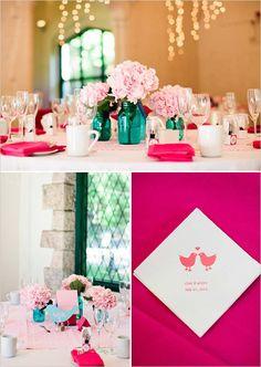 Turquoise mason jars, pink peonies, hot pink napkin. Summer wedding.