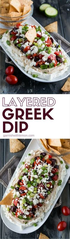 Layered Greek Dip (a Mediterranean dip!) - Garnish with Lemon Healthy doesn't have to mean boring! Check our our healthier take on a traditional dip with this veggie-filled Layered Greek Dip! Greek Layer Dip, Greek Dip, Seven Layer Dip, Eat Greek, Appetizer Dips, Yummy Appetizers, Appetizer Recipes, Greek Appetizers, Hummus
