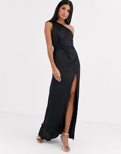 Shop Jarlo Tall one shoulder satin maxi dress with split in black. With a variety of delivery, payment and return options available, shopping with ASOS is easy and secure. Shop with ASOS today. Fashion For Women Over 40, Latest Trends, Asos, One Shoulder, Satin, Formal Dresses, Womens Fashion, Black, Style