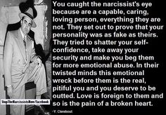 You caught the Narcissist's eyes because you are capable, caring, and a loving person, everything they are not.