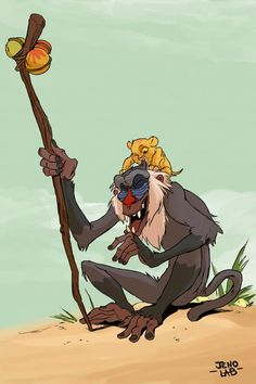 Rafiki by Jenolab for Disney Magic, Disney Art, Disney Movies, Disney And Dreamworks, Disney Pixar, Lion King Names, Disney Villains, Disney Characters, Disney Phone Wallpaper