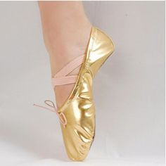 Children Adult Shinny Leather Ballet Dance Shoes Gymnastics Pointe size 25-40