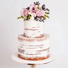 Naked wedding cake, featured on Style Me Pretty