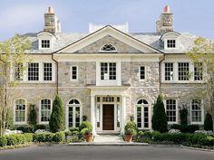 Cream stone symmetrical mansion