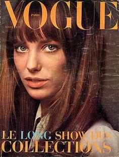 Jane Birkin - Vogue Paris March 1970  vintage 1970s fashion icon vogue magazine covers, 1970s hair and makeup