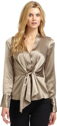 Lafayette 148 New York Camilla Silk Satin Pleated Blouse in Beige | Lyst