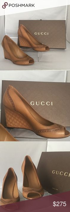 AUTHENTIC GUCCI WEDGES AUTHENTIC GUCCI WEDGES.leather. Open toe.GG logo on wedge heel / color tan / brand new/ made in Italy   size 81/2 / note no box / Gucci Shoes Wedges