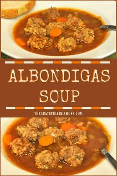 "Delicious Albondigas (""little meatball"") Soup is an easy, inexpensive, Southwestern flavored dish to prepare, and can be served as a first course or an entree! via @gratefuljb"