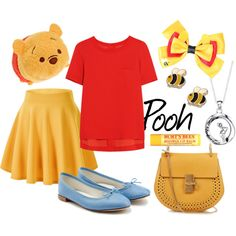 A fashion look from March 2016 featuring relaxed fit tops, flared hem skirt and blue leather flats. Browse and shop related looks. Outfits For Teens, Cute Outfits, Disney Bound Outfits, Disney Tsum Tsum, Disney Cosplay, Casual Cosplay, Disneybound, Workout Tops, Fashion Looks