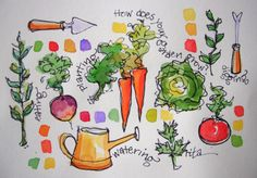 Sketchbook wandering: veggies ready to deliver! watercolor a Garden Journal, Nature Journal, Garden Drawing, Garden Art, Sketchbook Inspiration, Art Sketchbook, Watercolor Sketch, Watercolor Paintings, Watercolors