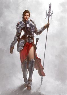 f Fighter Heavy Armor Cloak Lance Longsword Traveler female fog lg Fantasy Fighter, Fantasy Female Warrior, Female Knight, Warrior Girl, Fantasy Armor, Fantasy Women, Fantasy Girl, Female Character Concept, Fantasy Character Design
