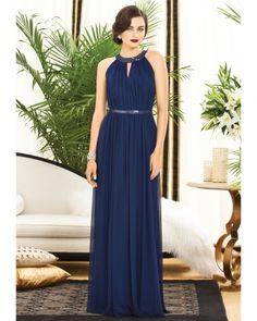 Long Navy Bridesmaid Dress Dessy, Pink and Navy wedding ideas. See more ideas at White Mischief; bit.ly/1rdgV1z