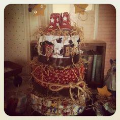 Cowboy theme baby shower DIAPER CAKE