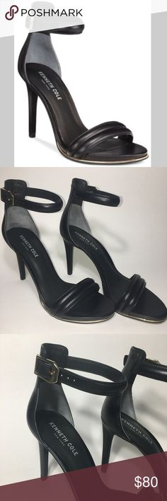 """Kenneth Cole 8.5 Black Brooke Strap Sandal Heel Kenneth Cole New York beautiful gently loved black """"Brooke"""" Strappy Leather Sandal Heel in size 8.5M. Has a stripe of gold lining the sole in the front. Retails for $150! These are in near perfect condition. 4"""" heel - stiletto style.  Smoke-Free Home! Fast Shipper! Top-Rated Seller!  Item # 100 Kenneth Cole Shoes Heels"""