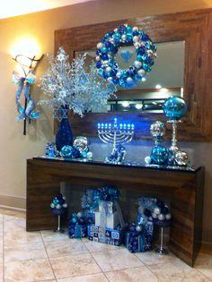 Menorah Hanukkah Decorations- really like the giant glass ball on the candlestick Hanukkah Crafts, Jewish Crafts, Hanukkah Decorations, Christmas Hanukkah, Happy Hanukkah, Blue Christmas, Kwanzaa, Holiday Crafts, Holiday Fun