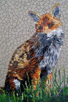 How gorgeous is this mosaic, beautiful detail. This one is entitled 'The Red Fox' Ceramic and Glass tiles, by Rachel Evans Mosaics. Mosaic Diy, Mosaic Garden, Mosaic Crafts, Mosaic Projects, Mosaic Wall, Mosaic Glass, Mosaic Tiles, Glass Tiles, Mosaic Designs