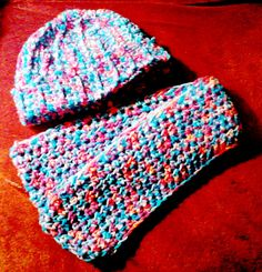 Multicolor Child's Hat and Scarf in pink purple and by DMStitches, $14.99