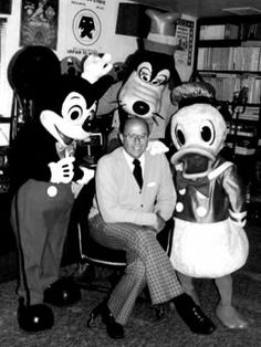 """Jack Wagner with some of the Disney characters. Wagner was the official """"voice of Disneyland,"""" in the 1970's - '80's. His work can also be heard at Walt Disney World. Wagner played """"Jack"""" the soda jerk on T.V.'s """"The Adventures of Ozzie and Harriet,"""" in the '50's."""